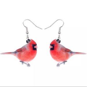 BOGO! Cardinal Earrings Dangle Acrylic Bird Red